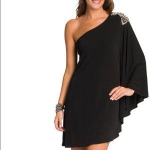 Haute Hippie black cocktail dress shoulder